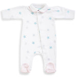 Magnet Mouse - soft pink star Sleepsuit