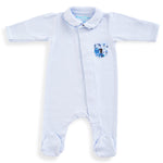 Magnet Mouse - Pale Blue sleepsuit with Liberty of London fabric detail.