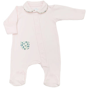 Magnet Mouse - Pale Pink sleepsuit with Liberty of London fabric detail.