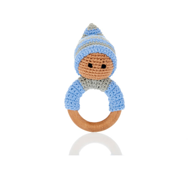Pale Blue Pixie Wooden Teething Ring