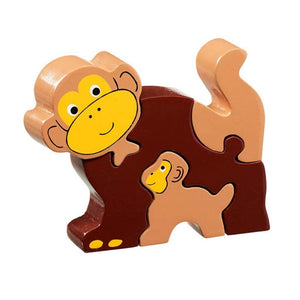 Lanka Kade Wooden Brown Monkey with baby Puzzle