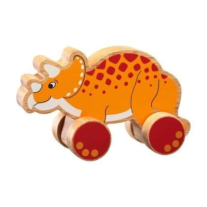 Wooden Triceratops Push along