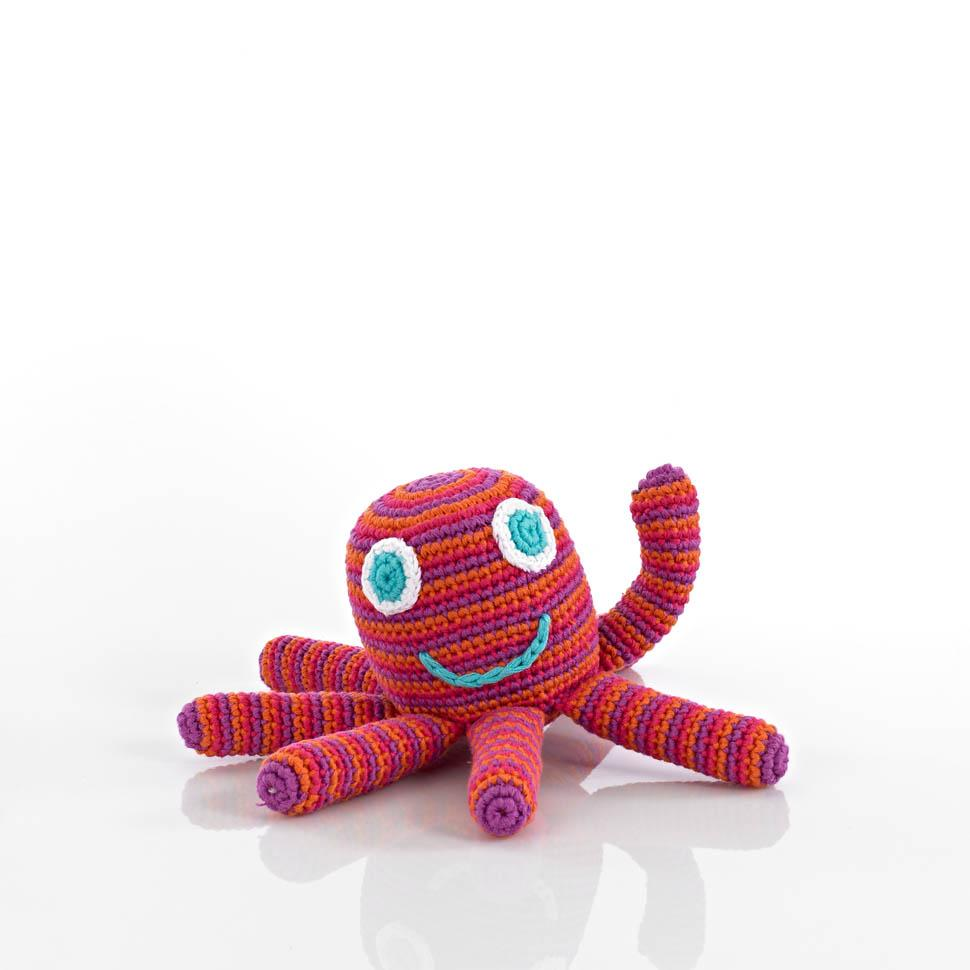 Octopus Rattle - Pink, Orange and purple