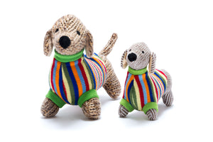 Knitted Sausage Dog with Jumper Rattle