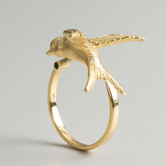 swallow ring gold art