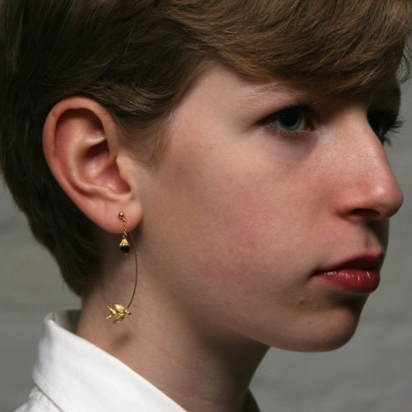 Gold Swallow And Flower Earring - Roz Buehrlen - 2