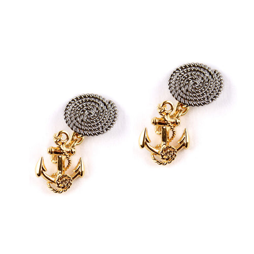 18ct gold and ruthenium anchor cufflinks.