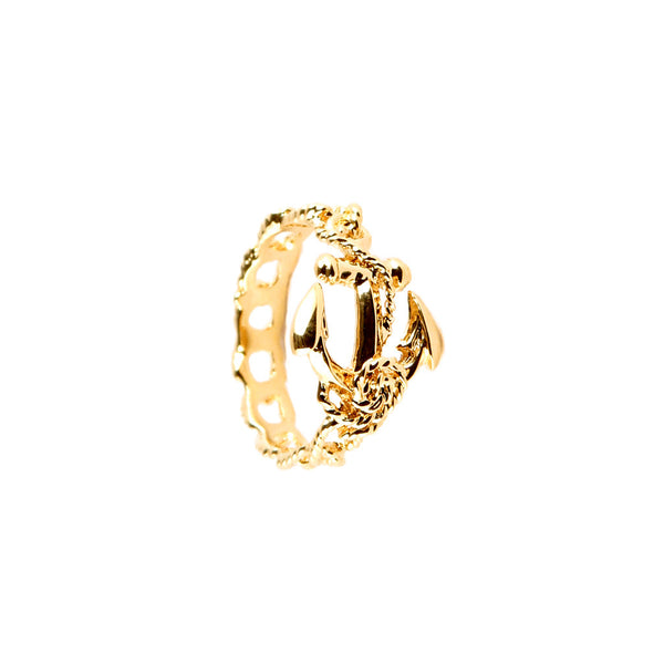 18ct gold anchor ring.