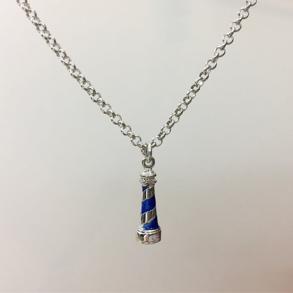 Blue Lighthouse Rhodium Pendant