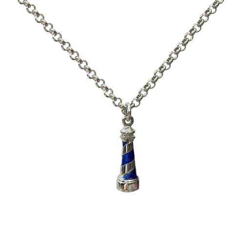 Blue Lighthouse Silver Pendant