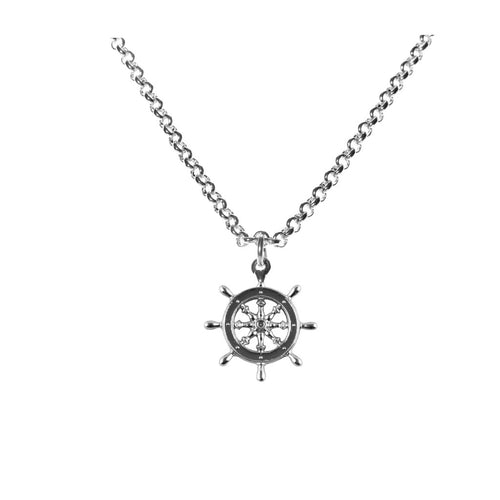 Captains wheel pendant rhodium