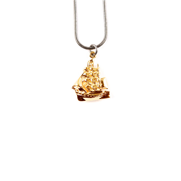 Gold Clipper Ship Pendant