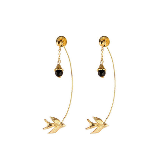 Gold Swallow And Flower Earring - Roz Buehrlen - 1