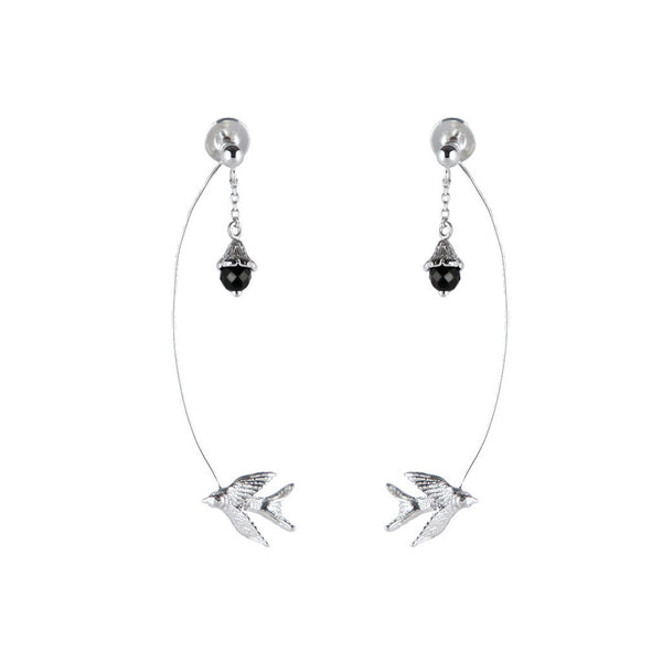 Swallow And Flower Earrings - Roz Buehrlen - 1