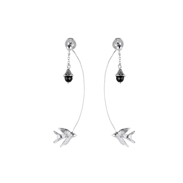 Swallow And Flower Earrings - Roz Buehrlen - 2