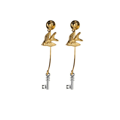 Gold Swallow and Silver Key Earrings