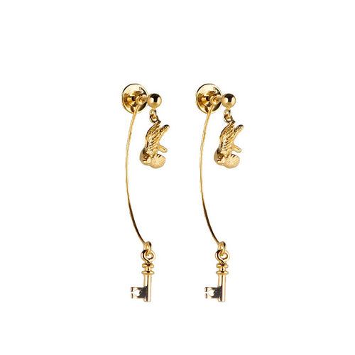 Gold Swallow And Key Earrings - Roz Buehrlen - 1