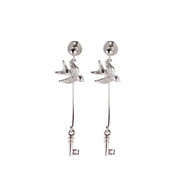 Swallow And Key Earrings - Roz Buehrlen - 1