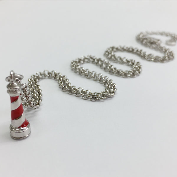 Red Enamel Lighthouse Pendant