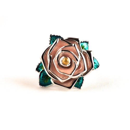 Frosted wild rose ring