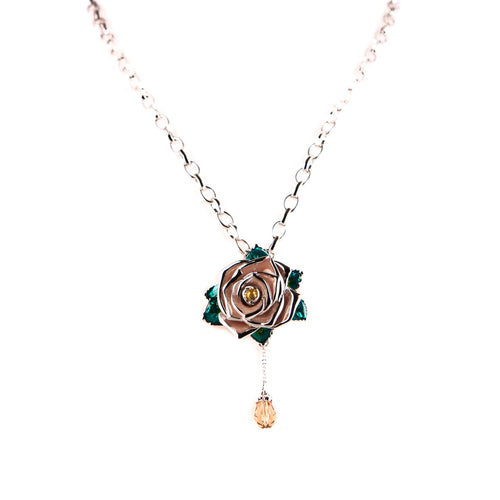Frosted wild rose necklace