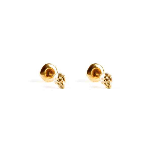 Mini Gold Skull Earring Pips