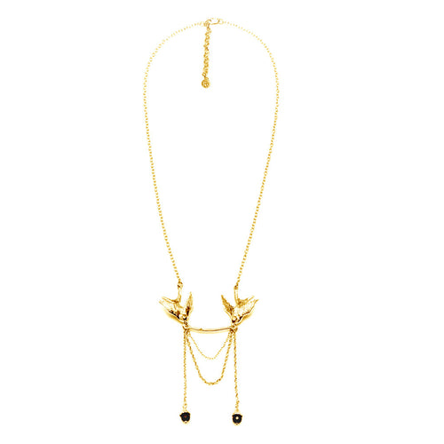 Gold Swallow Statement Necklace - Roz Buehrlen - 1