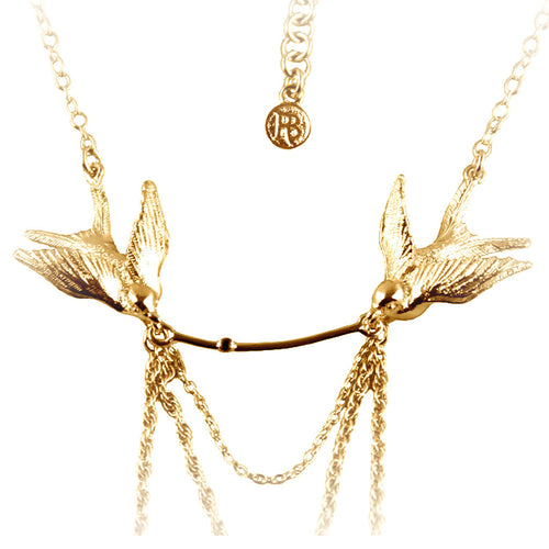 Gold Swallow Statement Necklace - Roz Buehrlen - 2
