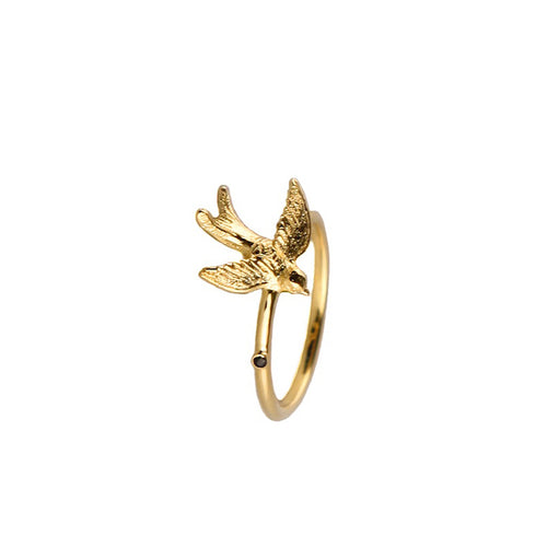 Gold Swallow Ring - Roz Buehrlen - 1