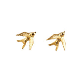 Gold Swallow Stud Earrings - Roz Buehrlen - 1