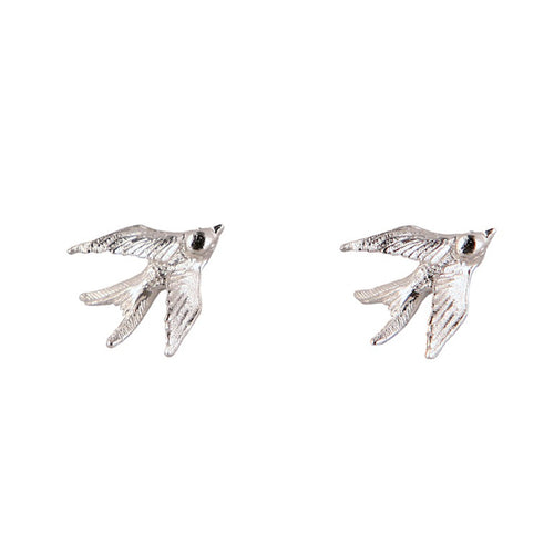 Silver Swallow Stud Earrings - Roz Buehrlen - 1