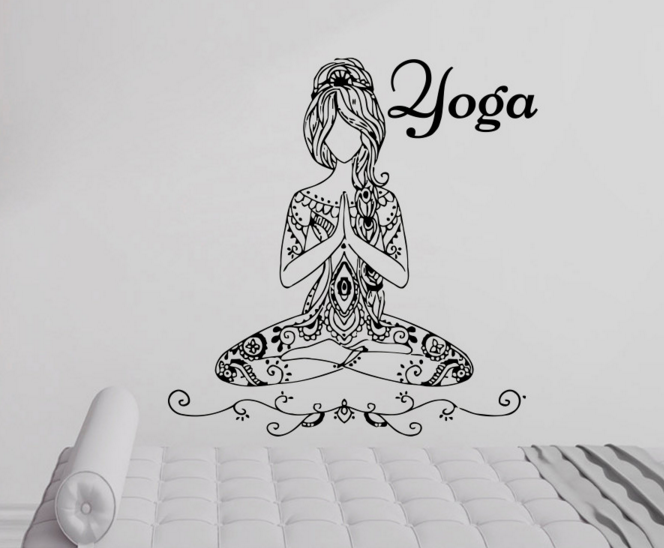 Removable Wall Sticker Of Yoga Meditate Pose Girls