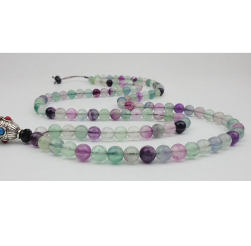 Natural 108 Colored Fluorite Meditation Necklace