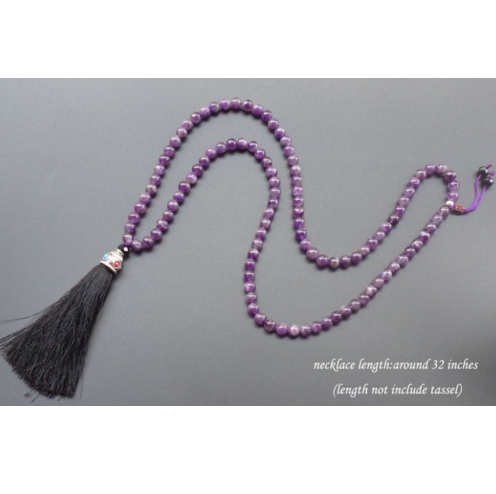 Natural 108 Purple Crystal Meditation Necklace