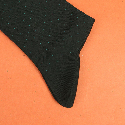 Tabio Pin Dot Mid Calf Socks - Charcoal-Mint Green