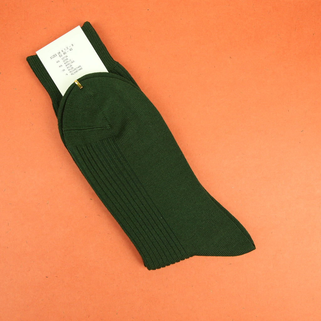 Tabio 2x2 Cotton Ribbed Socks Moss Green