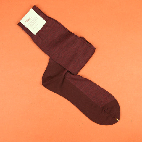 Tabio Cotton Silk Banner Over the Calf Socks - Dark Red