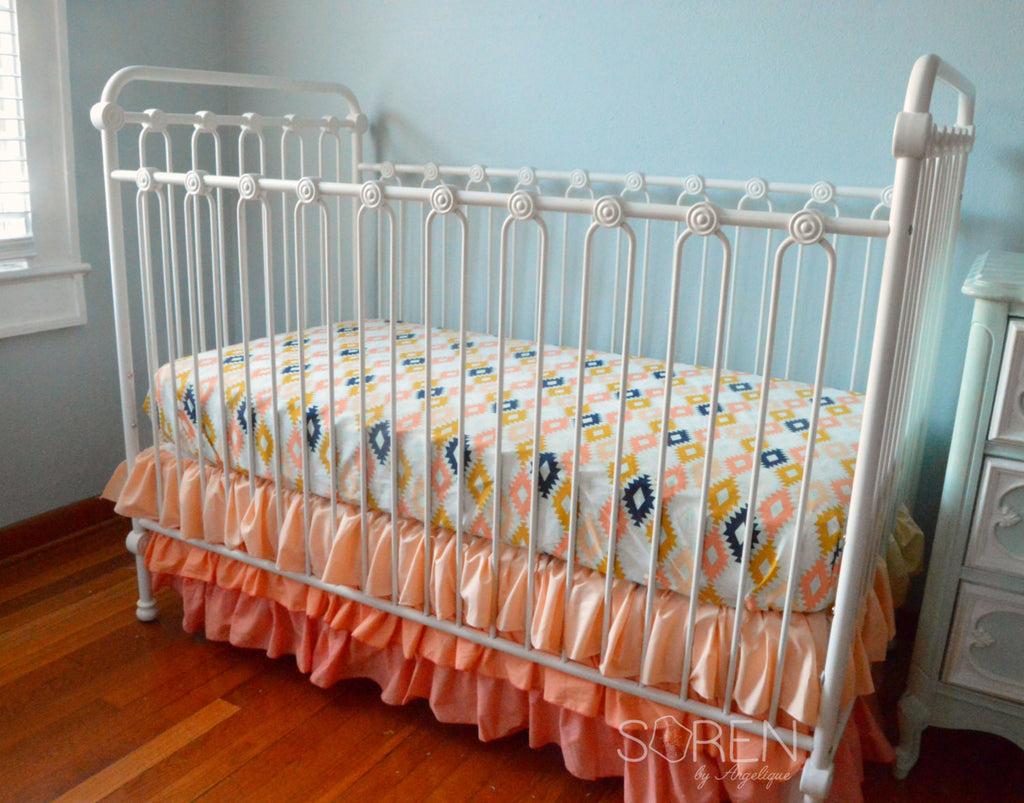 Crib for sale - Sale Ready To Ship Agave Aztec Coral Ombre Bumperless Crib Bedding
