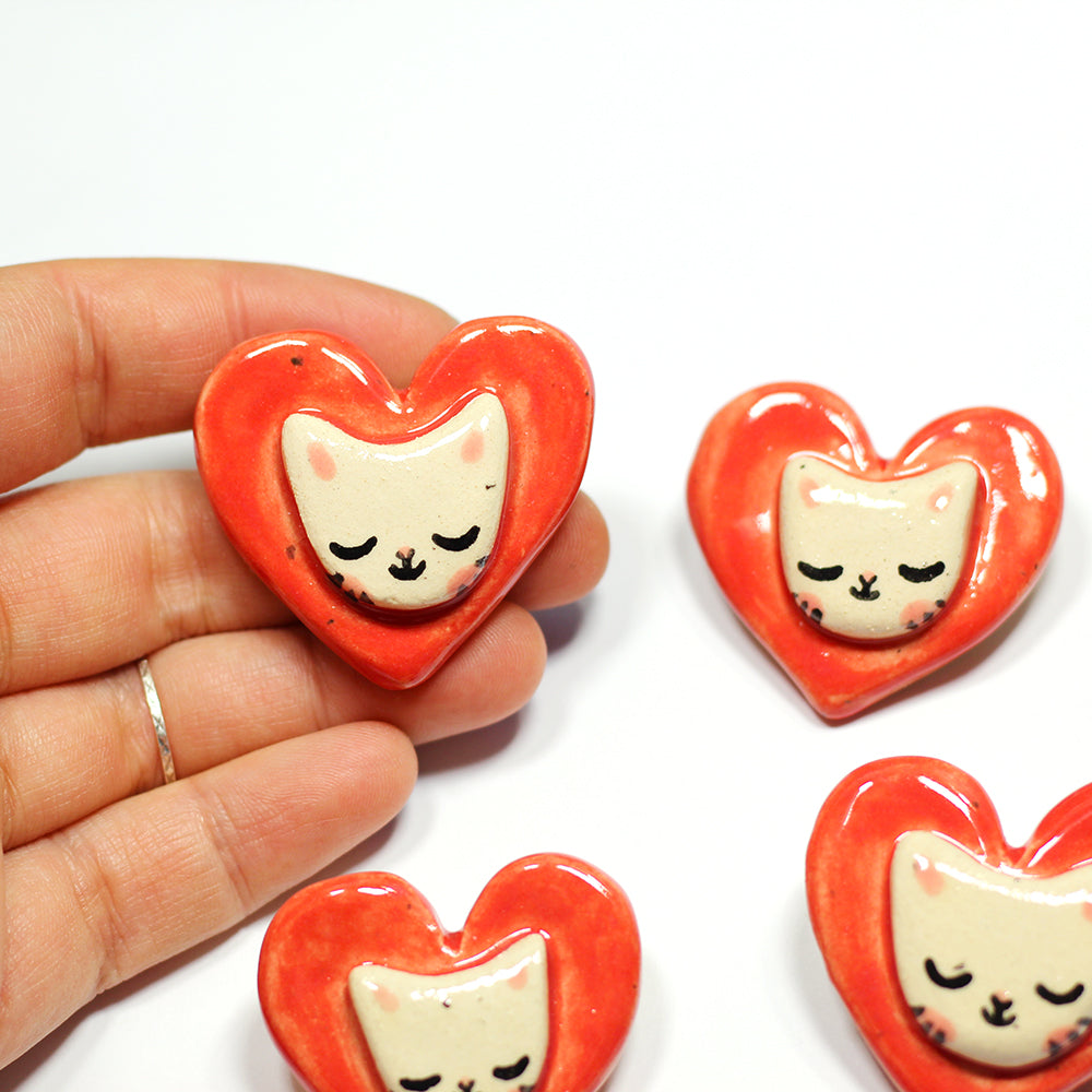 Ceramic Love Cat Brooch