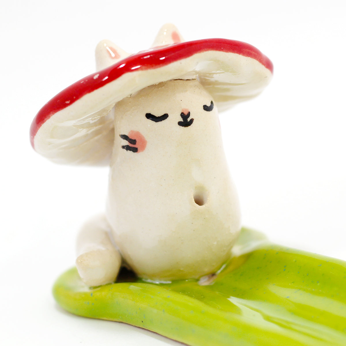 Ceramic Mushroom Kitty Incense Burner #1300