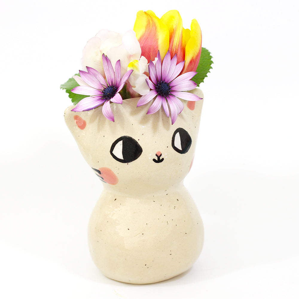 Ceramic Kitty Vase #1103