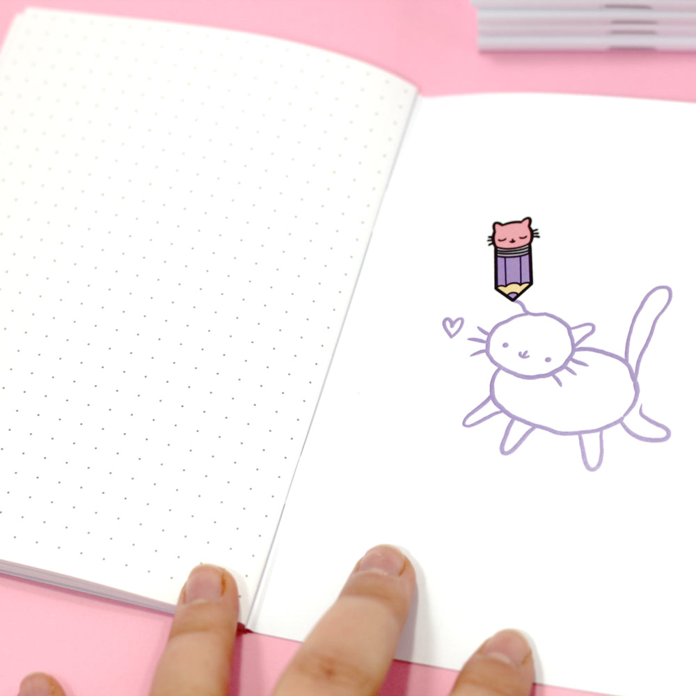 Pencil Kitty Dotted Notebook
