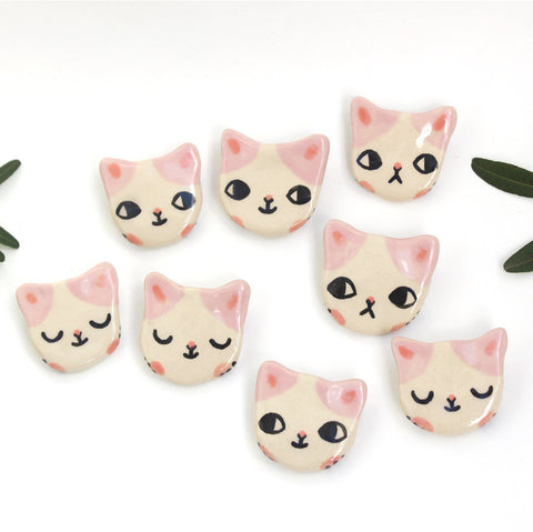 Ceramic Kitty Brooch Pink - M