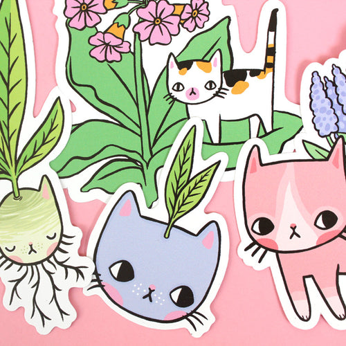 Plant Kitty Vinyl Sticker Set