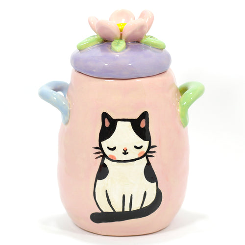 Ceramic Flower Kitty Jar #1319