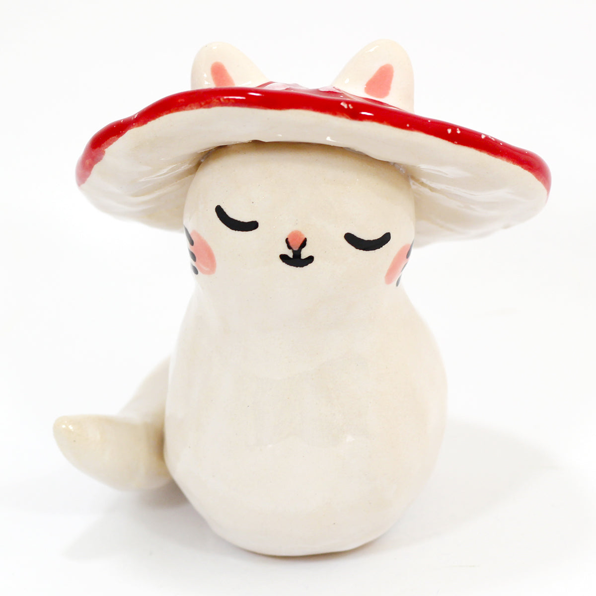 Ceramic Mushroom Kitty Figurine #1324