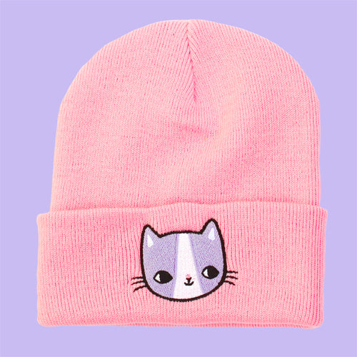 Lilac Kitten Embroidered Cuffed Beanie