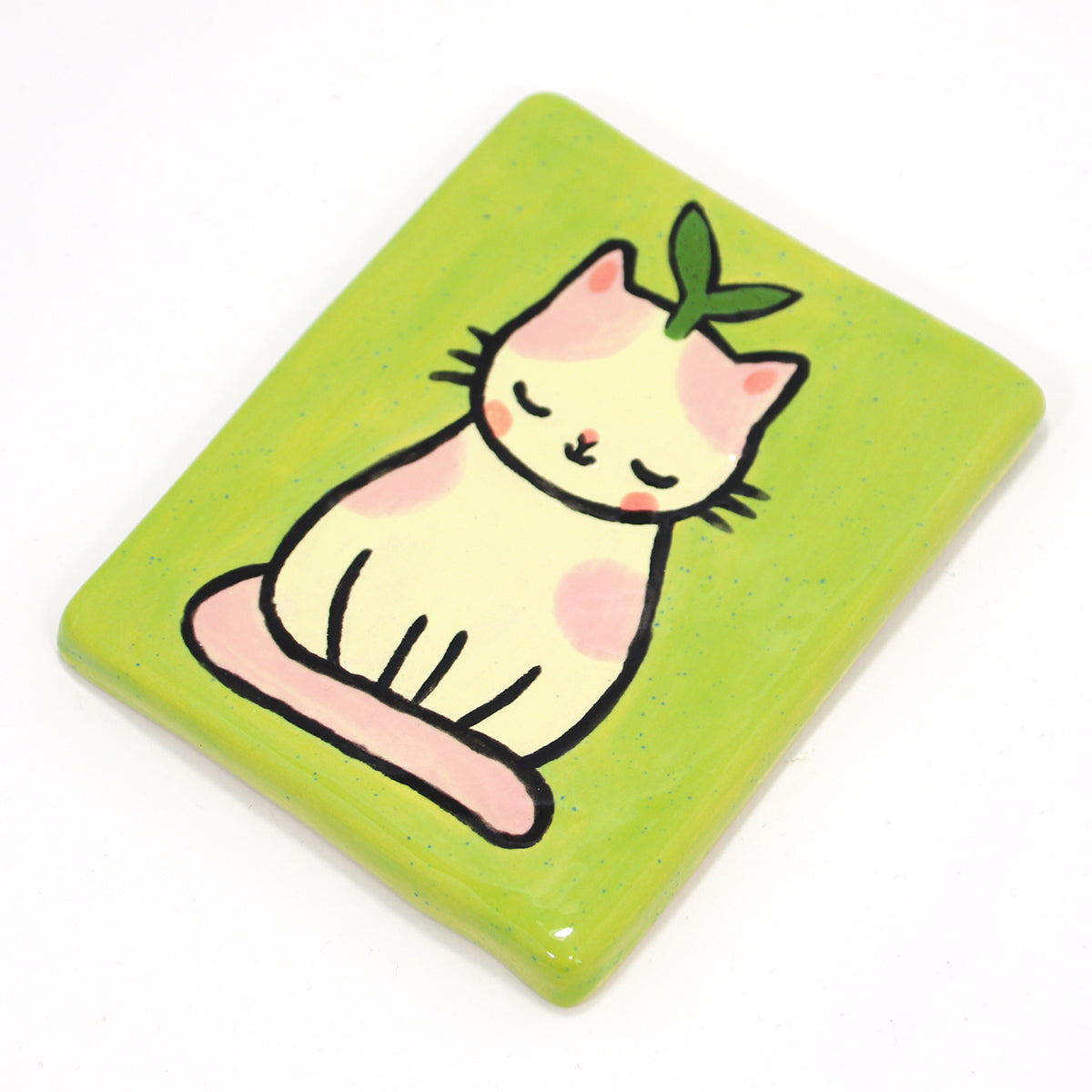 Ceramic Plant Kitty Wall-Hanging Tile #1402