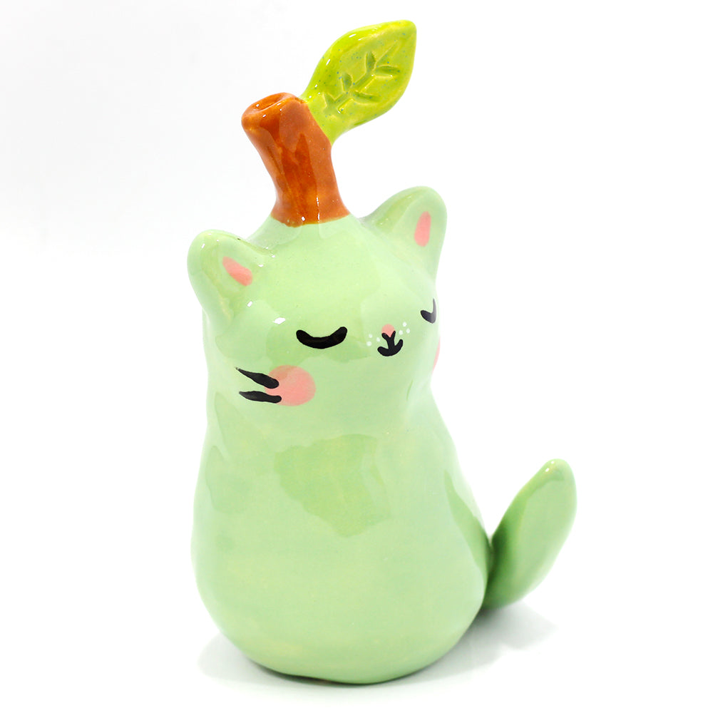 Ceramic Pear Kitty Figurine #1213