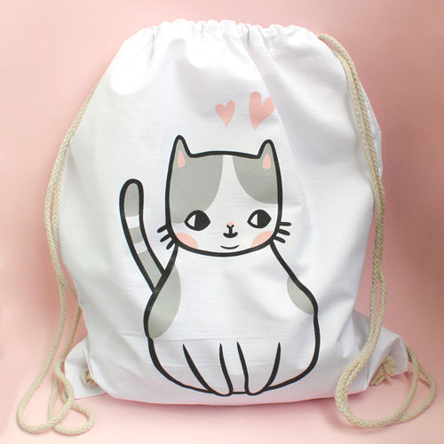 Chubby Kitty Drawstring Backpack